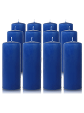 Pack de 12 bougies cylindres Bleu saphir 6x15cm