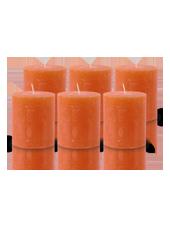 Pack de 6 Bougies Rustiques Orange 8x7cm