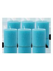 Pack de 6 Bougies Rustiques Turquoise 8x7cm