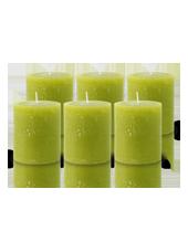 Pack de 6 Bougies Rustiques Vert Citron 8x7cm