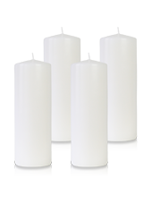 Pack de 4 bougies cylindres Blanches 7x21cm