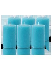 Pack de 6 Bougies Rustiques Turquoise 11x7cm
