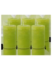 Pack de 6 Bougies Rustiques Vert Citron 11x7cm