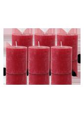 Pack de 6 Bougies Rustiques Rouge 8x7cm