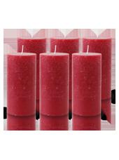 Pack de 6 Bougies Rustiques Rouge 14x7cm