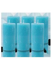 Pack de 6 Bougies Rustiques Turquoise 14x7cm