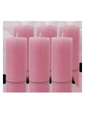 Pack de 6 Bougies Rustiques Vieux Rose 14x7cm