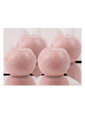 Pack de 4 Bougies Rondes Marbrées Vieux Rose 8cm