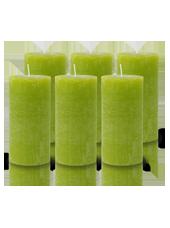 Pack de 6 Bougies Rustiques Vert Citron 14x7cm