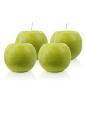 Pack de 4 Bougies Rondes Marbrées Vert Citron 8cm