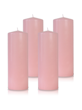 Pack de 4 bougies cylindres Rose 7x21cm