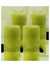 Pack de 4 Bougies Marbrées Vert Citron 7x5cm
