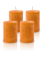 Pack de 4 Bougies Marbrées Orange 7x5cm