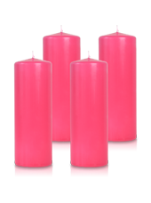 Pack de 4 bougies cylindres Fuchsia 7x21cm