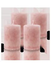 Pack de 4 Bougies Marbrées Vieux Rose 7x5cm