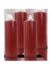 Pack de 4 bougies cylindres Bordeaux 7x21cm