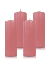 Pack de 4 bougies cylindres Vieux rose 7x21cm