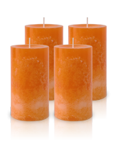 Pack de 4 Bougies Marbrées Orange 13x7cm