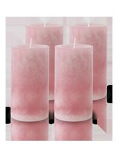 Pack de 4 Bougies Marbrées Vieux Rose 13x7cm