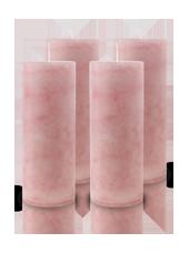 Pack de 4 Bougies Marbrées Vieux Rose 18x7cm