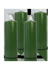 Pack de 4 bougies cylindres Vert 7x21cm