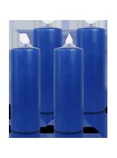 Pack de 4 bougies cylindres Bleu saphir 7x21cm