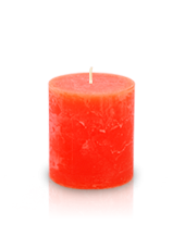 Bougie cylindre rustique Orange 7x8cm