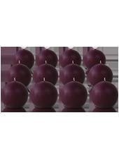 Pack de 12 bougies ronde Prune 7cm