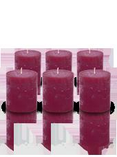 Pack de 6 bougies cylindres rustiques Bordeaux 7x8cm