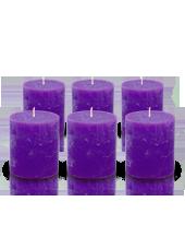 Pack de 6 bougies cylindres rustiques Violet aubergine 7x8cm