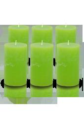 Pack de 6 bougies cylindres rustiques Vert pistache 7x15cm