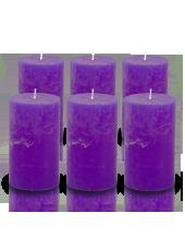 Pack de 6 bougies cylindres rustiques Violet aubergine 7x15cm