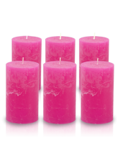 Pack de 6 bougies cylindres rustiques Fuchsia 7x15cm