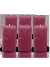 Pack de 6 bougies cylindres rustiques Bordeaux 7x15cm
