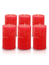 Pack de 6 bougies cylindres rustiques Rouge 7x15cm