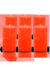 Pack de 6 bougies cylindres rustiques Orange 7x15cm