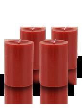 Pack de 4 bougies cylindres premium Rouge 7x10cm
