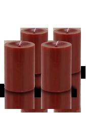 Pack de 4 bougies cylindres premium Rouge carmin 7x10cm