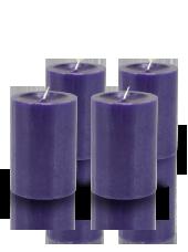 Pack de 4 bougies cylindres premium Violet aubergine 7x10cm