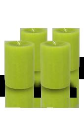 Pack de 4 bougies cylindres premium Vert kiwi 7x10cm