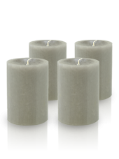 Pack de 4 bougies cylindres premium Gris 7x10cm