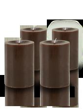 Pack de 4 bougies cylindres premium Chocolat 7x10cm