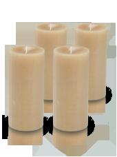 Pack de 4 bougies cylindre premium Poudre 7x15cm