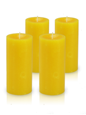 Pack de 4 bougies cylindre premium Jaune 7x15cm