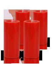 Pack de 4 bougies cylindre premium Rouge 7x15cm