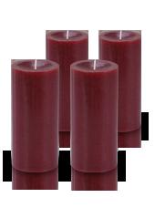 Pack de 4 bougies cylindre premium Rouge carmin 7x15cm