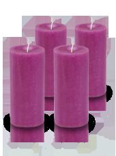 Pack de 4 bougies cylindre premium Fuchsia 7x15cm