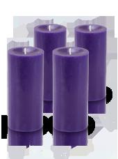 Pack de 4 bougies cylindre premium Violet aubergine 7x15cm