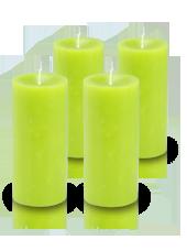Pack de 4 bougies cylindre premium Vert kiwi 7x15cm