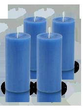 Pack de 4 bougies cylindre premium Bleu roi 7x15cm